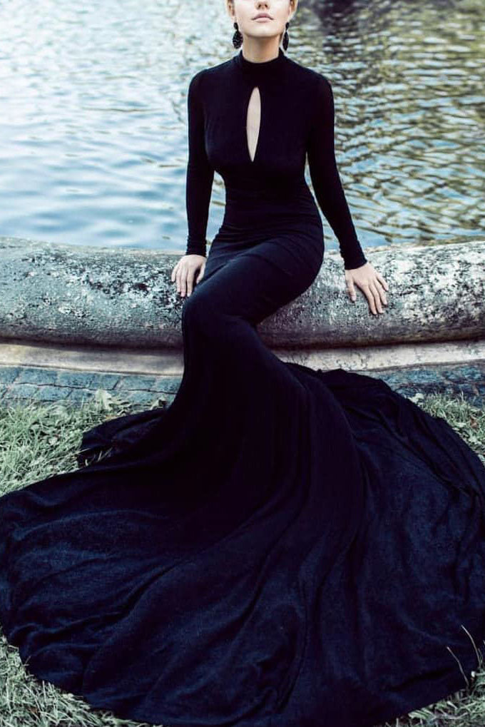 Black High Neck Cut Out Long Sleeves Mermaid Long Prom Dress