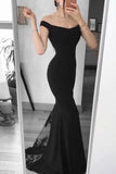 Black Backless Appliques Mermaid Off The Shoulder Evening Prom Dress