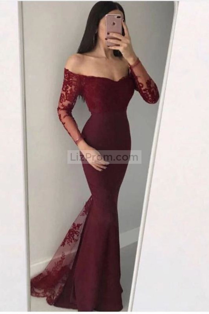 Black Long Sleeves Mermaid Lace Off The Shoulder Evening Prom Dress Dresses