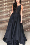 Black Scoop A-line Sleeveless Long Evening Prom Dress