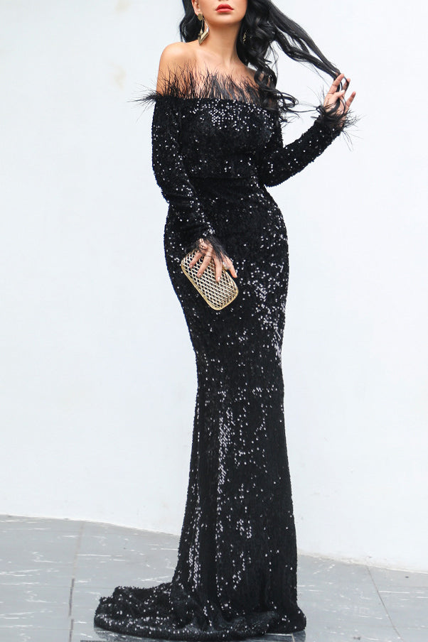 Black Sparkly Off Shoulder Mermaid Long Sleeves Cheap Evening Dress