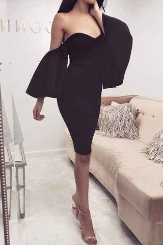 Black Strapless Off-the-Shoulder Cocktail Evening Prom Dress