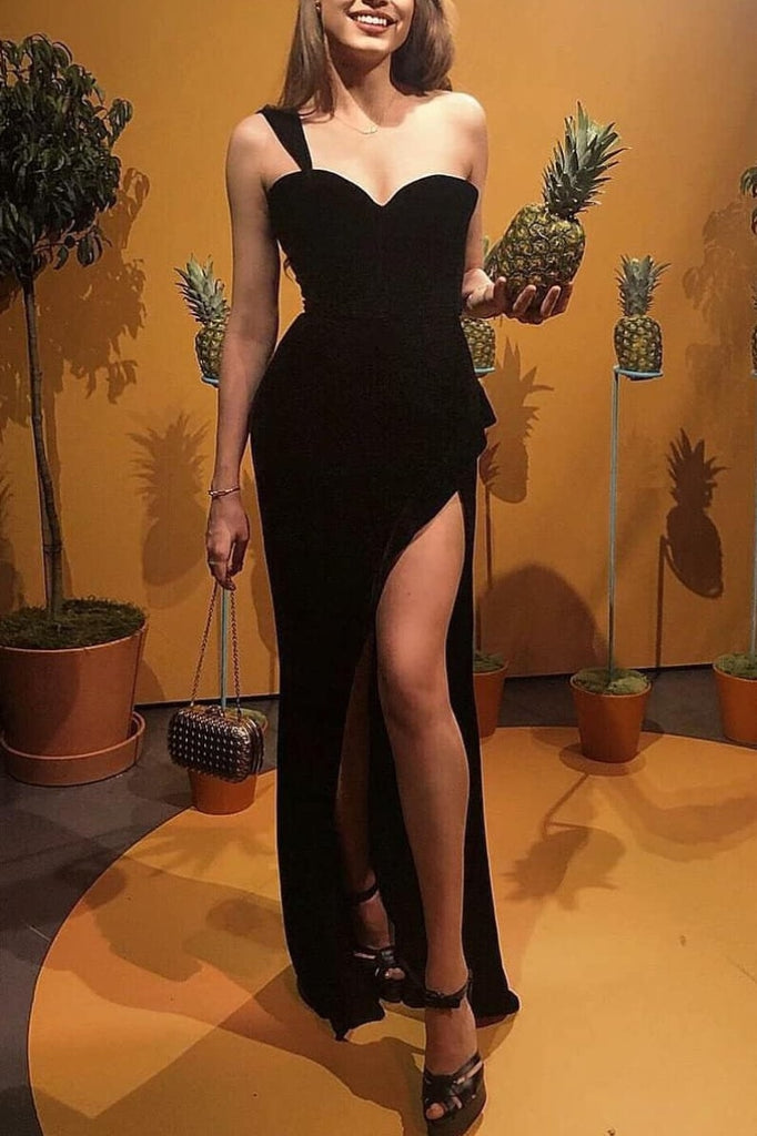 Black Sweetheart One Shoulder Slit Mermaid Evening Long Prom Dress Dresses