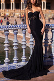 Black Sweetheart Strapless Sleeveless Lace Mermaid Long Prom Dress