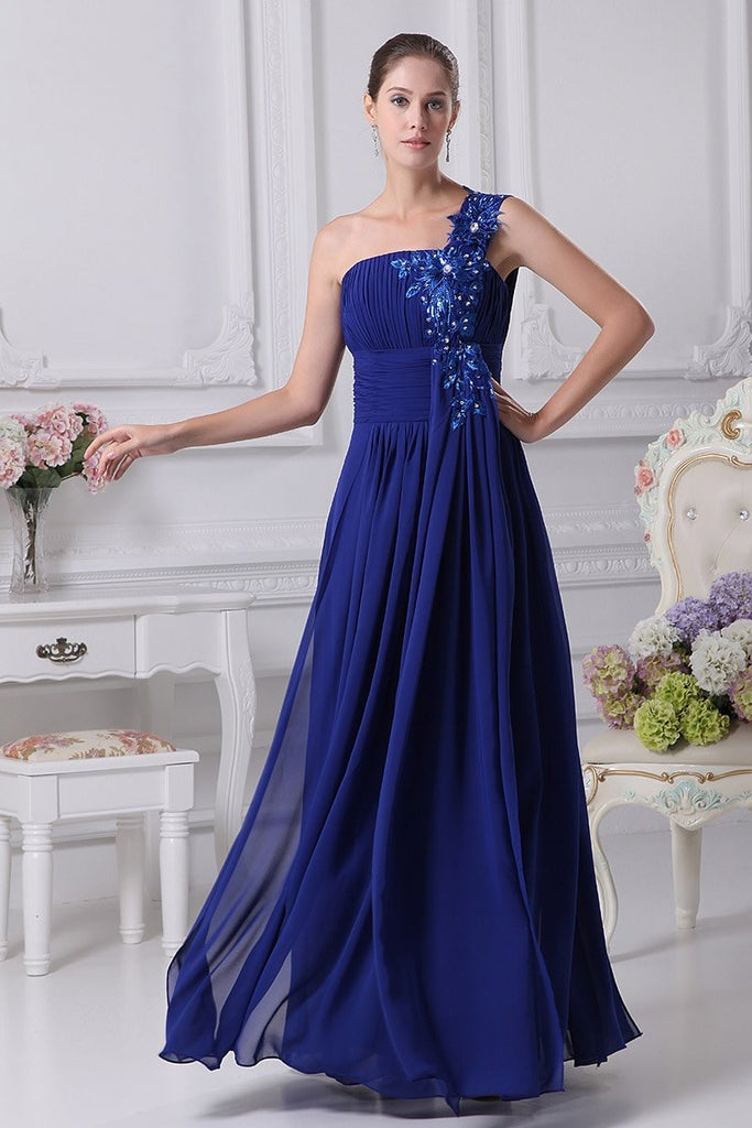 Blue One Shoulder A-line Beaded Prom Dress