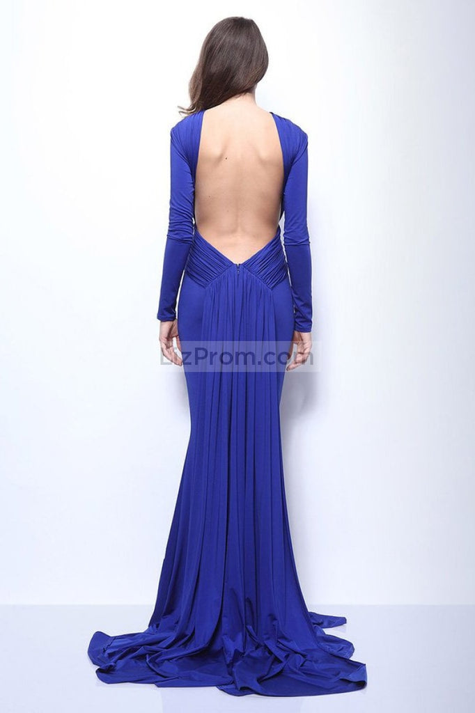 Royal Blue Mermaid Long Prom Formal Dress With Sleeves