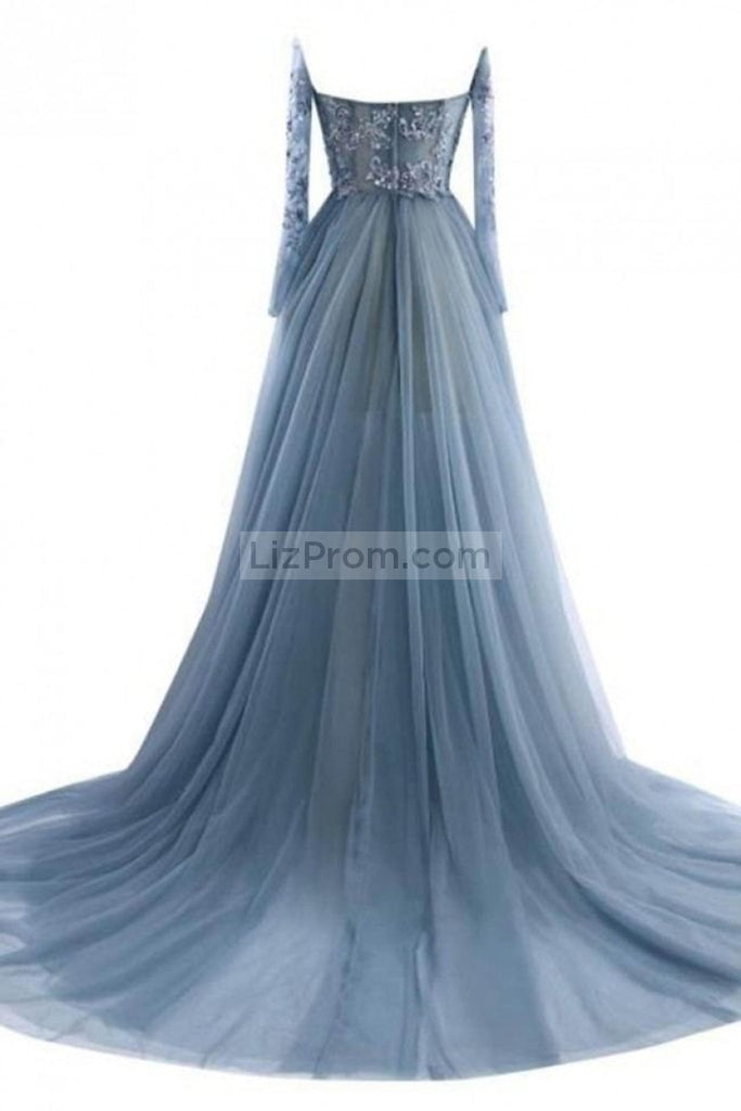 Blue Appliques Rhinestone Off The Shoulder Long Sleeves Prom Dress Dresses