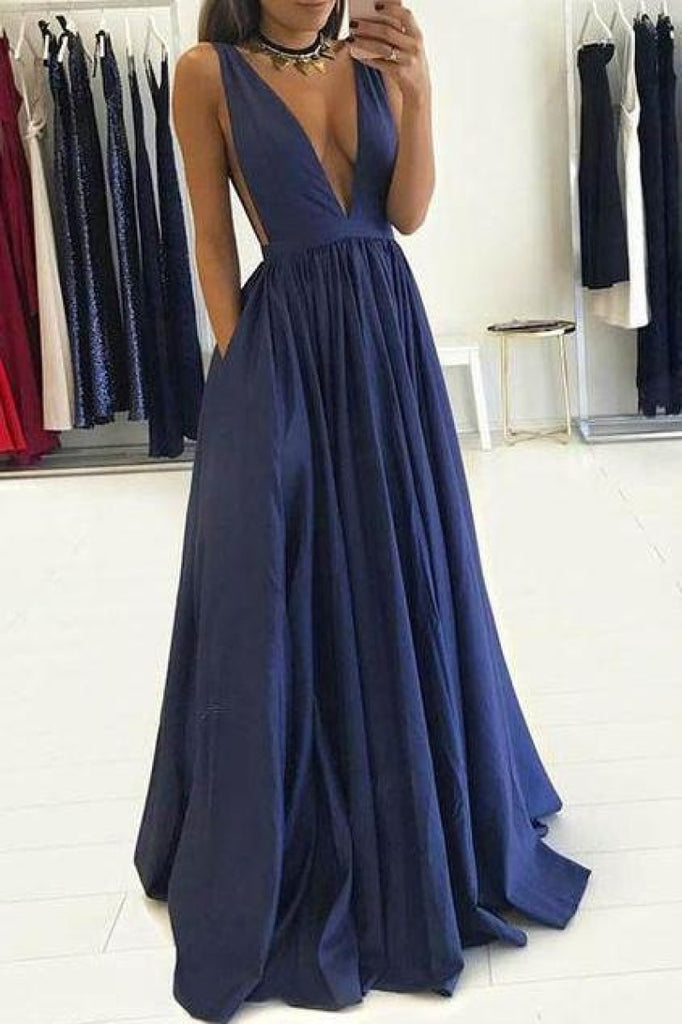 Blue Deep V-Neck Backless A-Line Navy Long Prom Dress Dresses