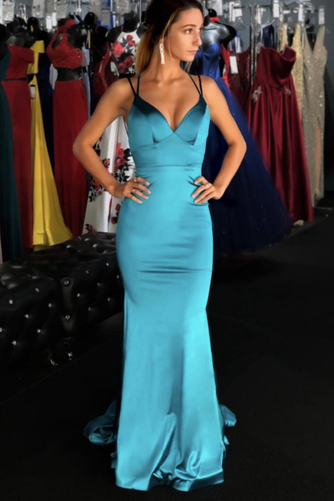 Chic Blue V-neck Spaghetti Straps Mermaid Prom Dress