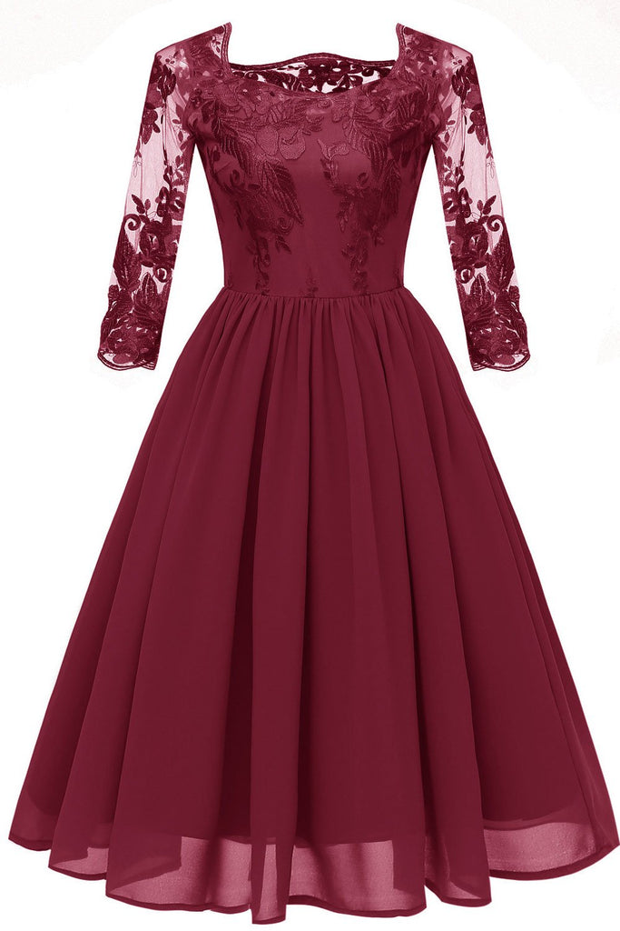 Burgundy A-line Applique Homecoming Dress With 3/4 Sleeves