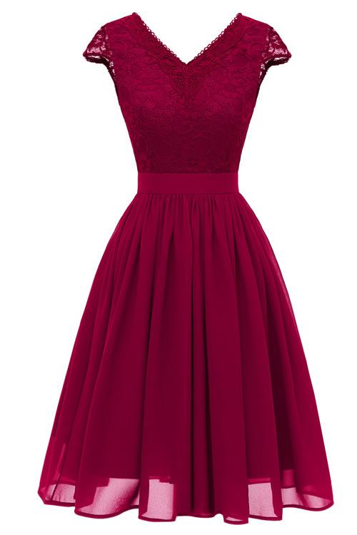 Burgundy A-line Cap Sleeves Homecoming Dress
