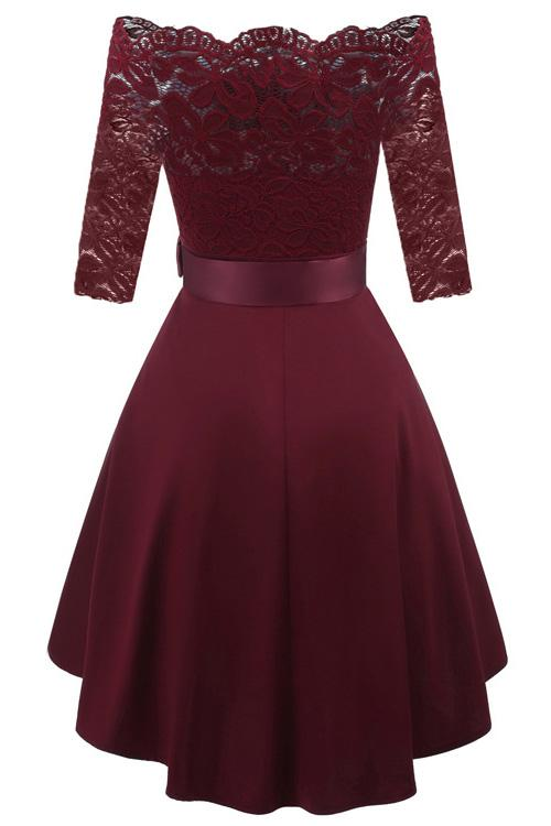 Burgundy Lace Off-the-shoulder High Low Prom Dress
