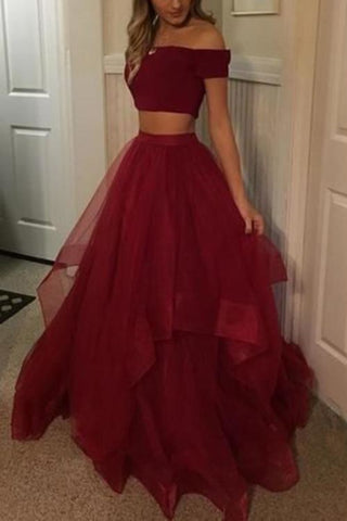 Burgundy Off Shoulder Two-piece Prom Dress Evening Gown