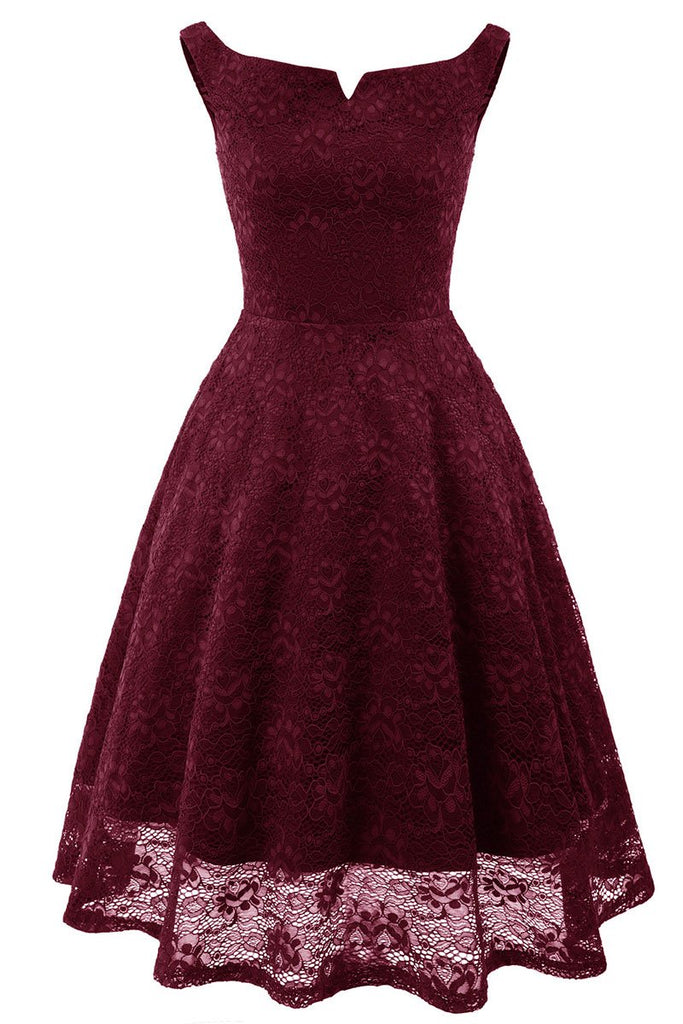 Burgundy Off-the-shoulder Lace Homecoming Prom Dress