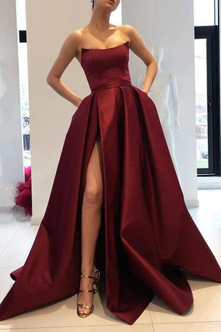 Burgundy Strapless Thigh-high Slit Ball Gown
