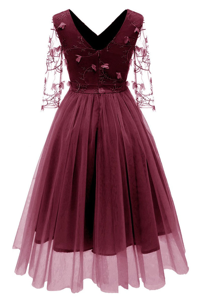 Burgundy V-neck A-line Applique Prom Dress With Long Sleeves