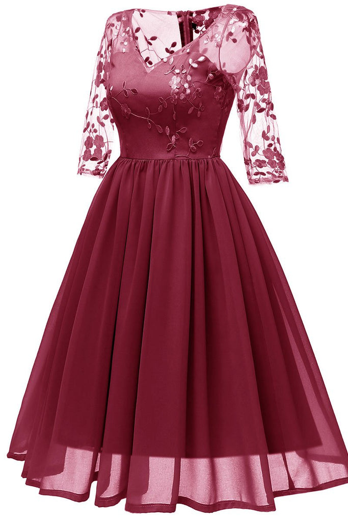 Burgundy V-neck A-line Applique Prom Dress With Sleeves