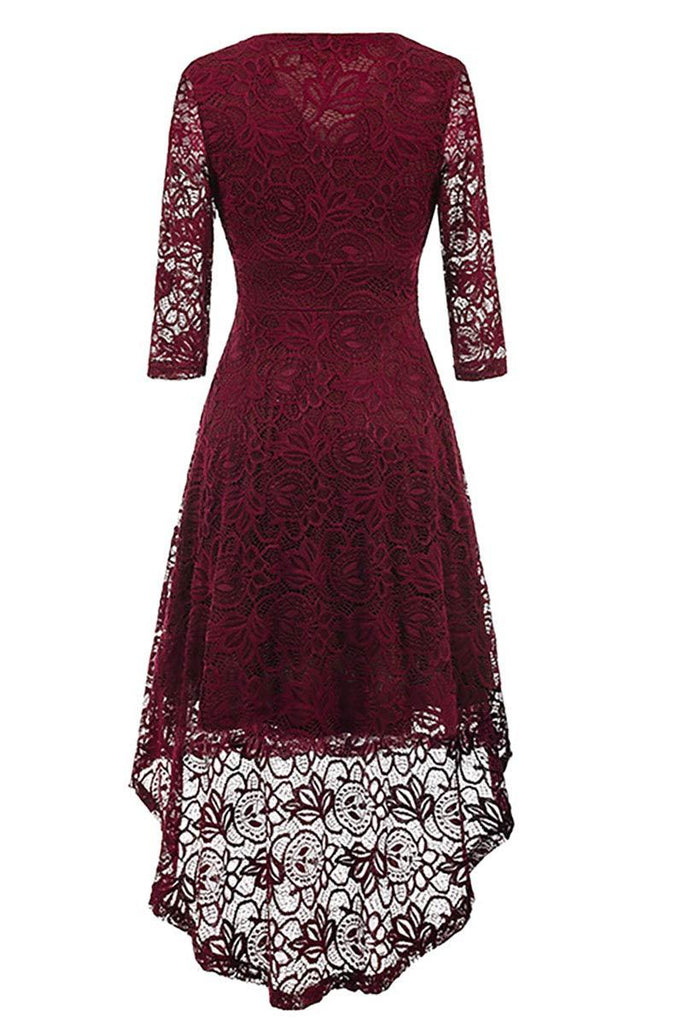 Burgundy V-neck Lace High Low Prom Dress