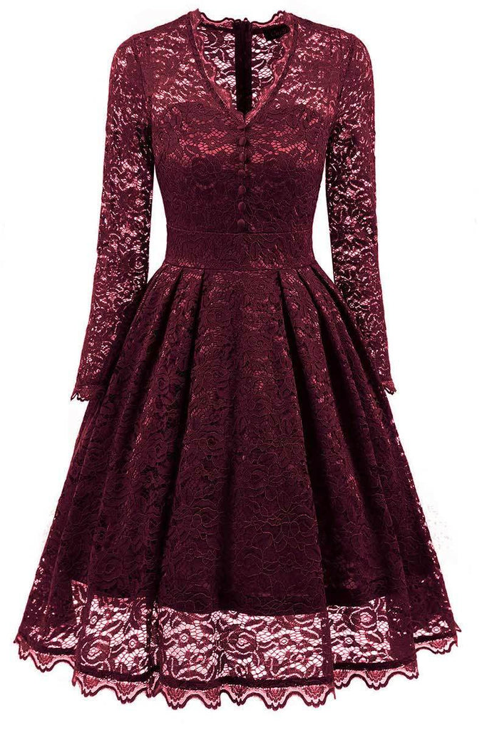 Burgundy V-neck Prom Dress With Long Sleeves