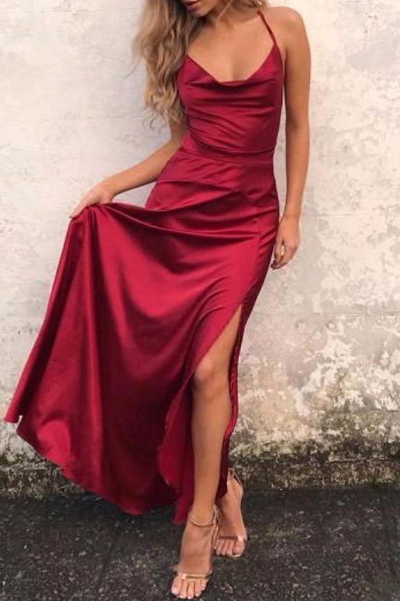 Burgundy A-line Criss Cross Straps Prom Dress With High Slit