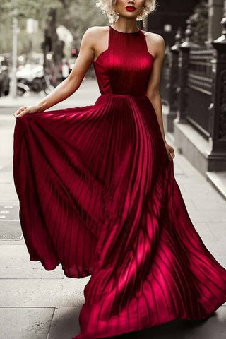 Burgundy A-line Pleated Sleeveless Scoop Evening Prom Dress