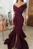 Burgundy Bow Ruffled Mermaid Off The Shoulder Slit Prom Dress