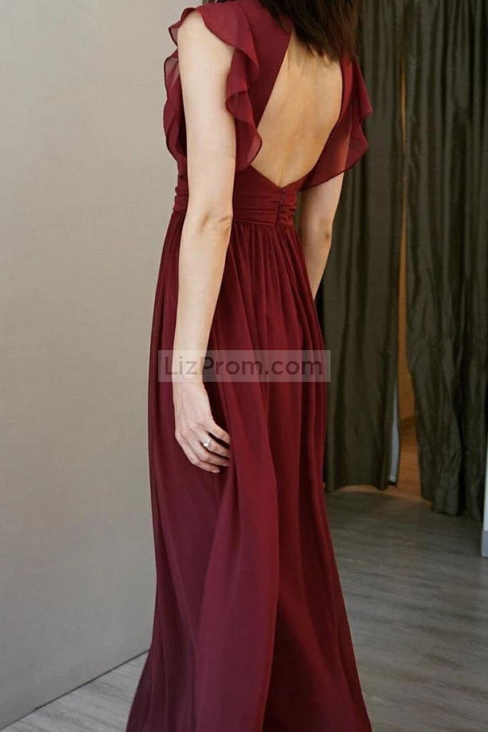 Burgundy Cap Sleeves Backless V-Neck A-Line Chiffon Bridesmaid Prom Dress Dresses