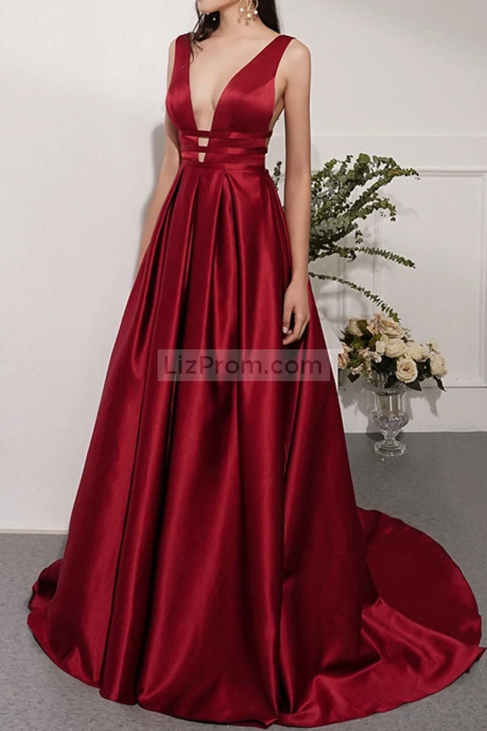 Burgundy Deep V-Neck Sleeveless Ball Gown Dresses