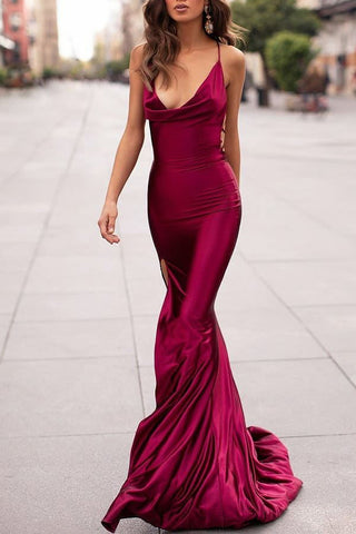 Burgundy Mermaid Cowl Spaghetti Straps Slit Long Prom Dress