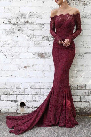 Burgundy Off The Shoulder Mermaid Lace Long Sleeves Prom Dress
