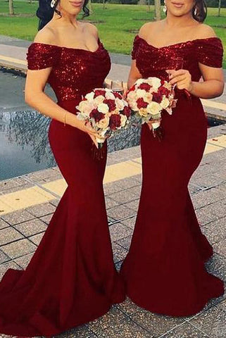 Burgundy Off The Shoulder Mermaid Sequined Bridesmaid Prom Dress