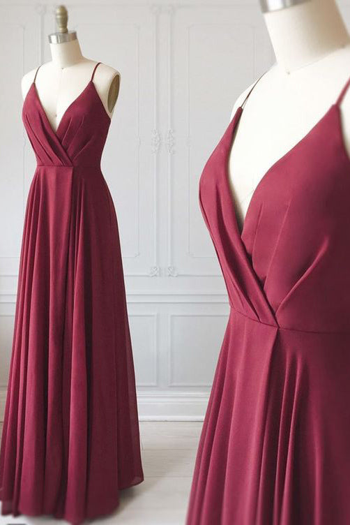 Burgundy Ruffles Deep V-neck Spaghetti Straps Evening Dress