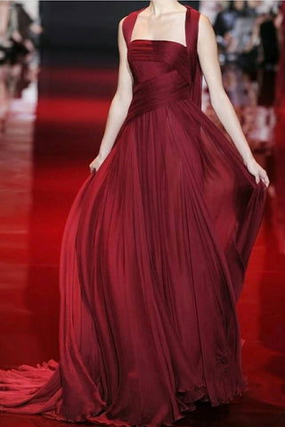 Burgundy Square Neck A-line Sleeveless Ruffled Prom Dress