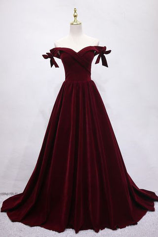 Burgundy Velvet Off-the-Shoulder Train Prom Evening Gown