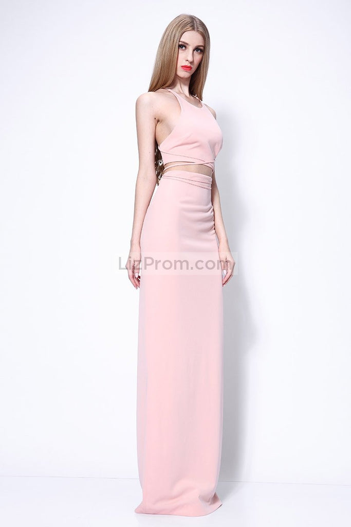 Candy Pink Cross Back Two Pieces Evening Prom Dress