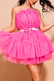 Candy Pink Strapless A-line Backless Homecoming Dress