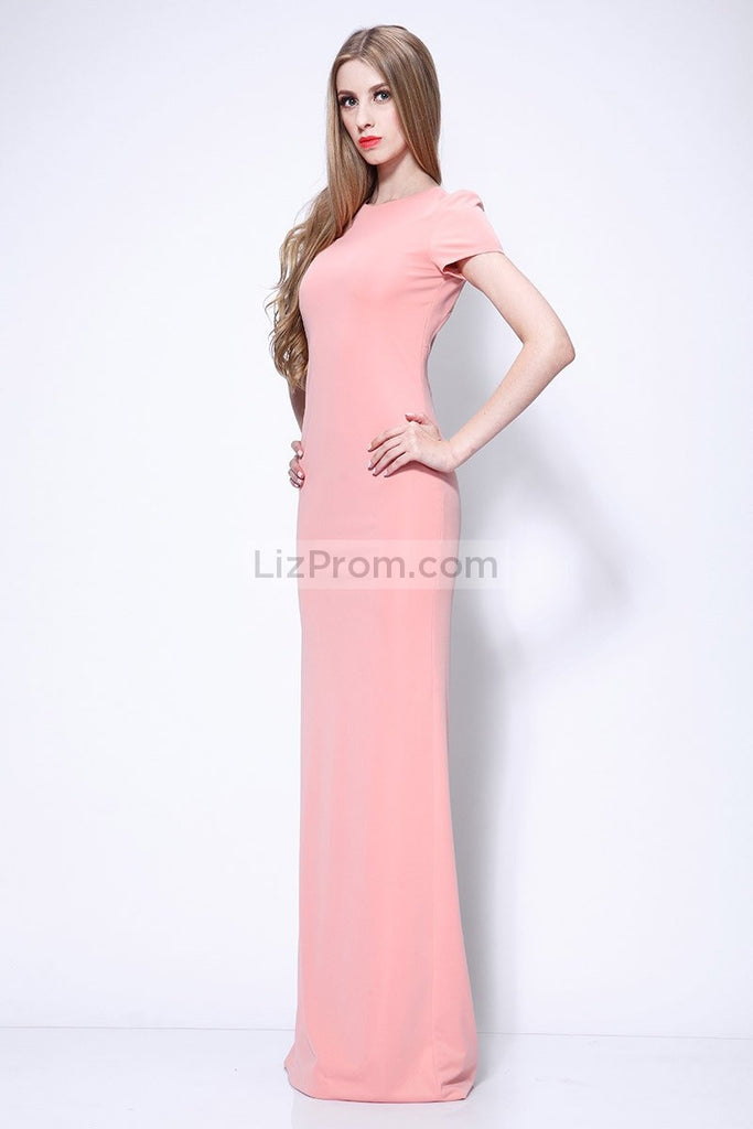 Cap Sleeves Cut Out Fitted Long Sheath Prom Dress