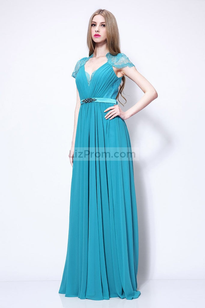 Cap Sleeves Lace A-line Beaded Bridesmaid Dress