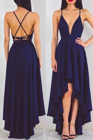 Navy Blue Backless Chiffon High Low Evening Prom Dress