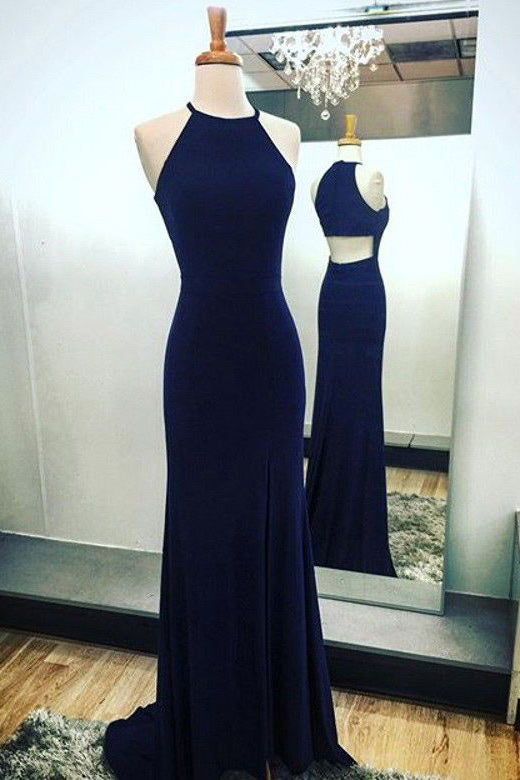Chic Cut Out Navy Blue Evening Prom Dress