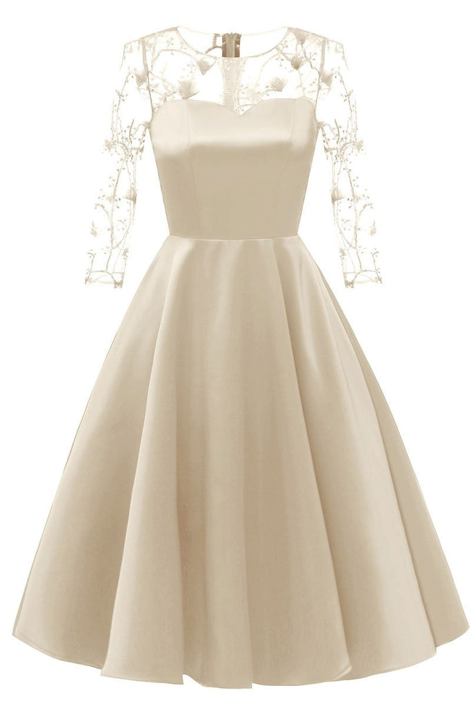 Champagne Applique A-line Satin Homecoming Dress