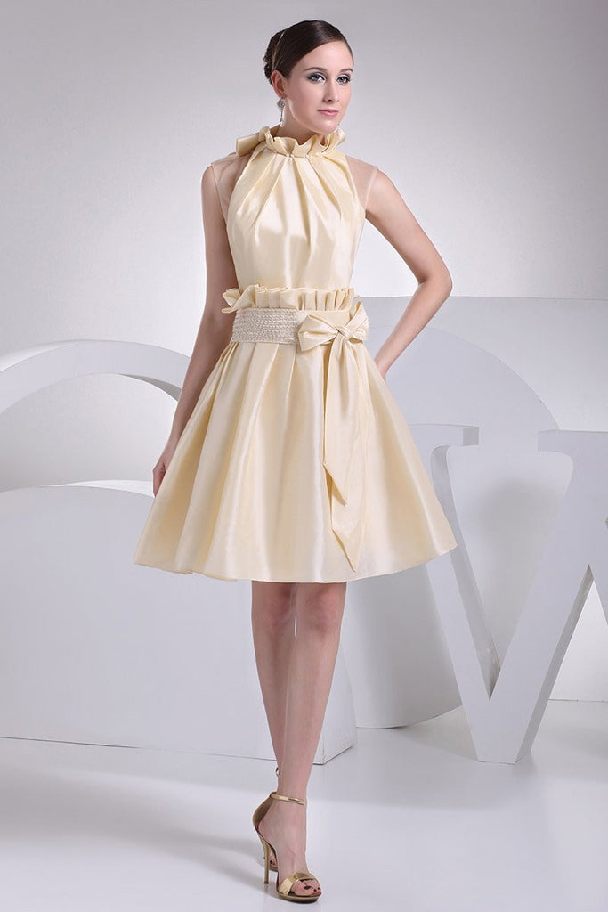 Champagne Fit And Flare Short Dress WIth Bow