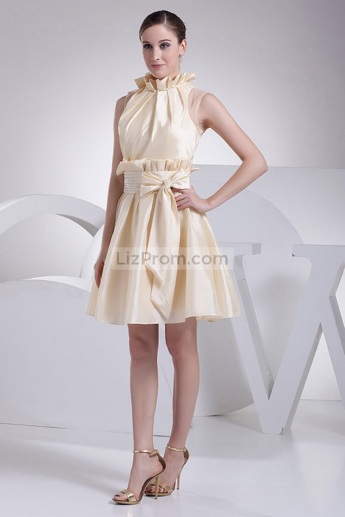 Champagne Fit And Flare Short Dress WIth Bow2