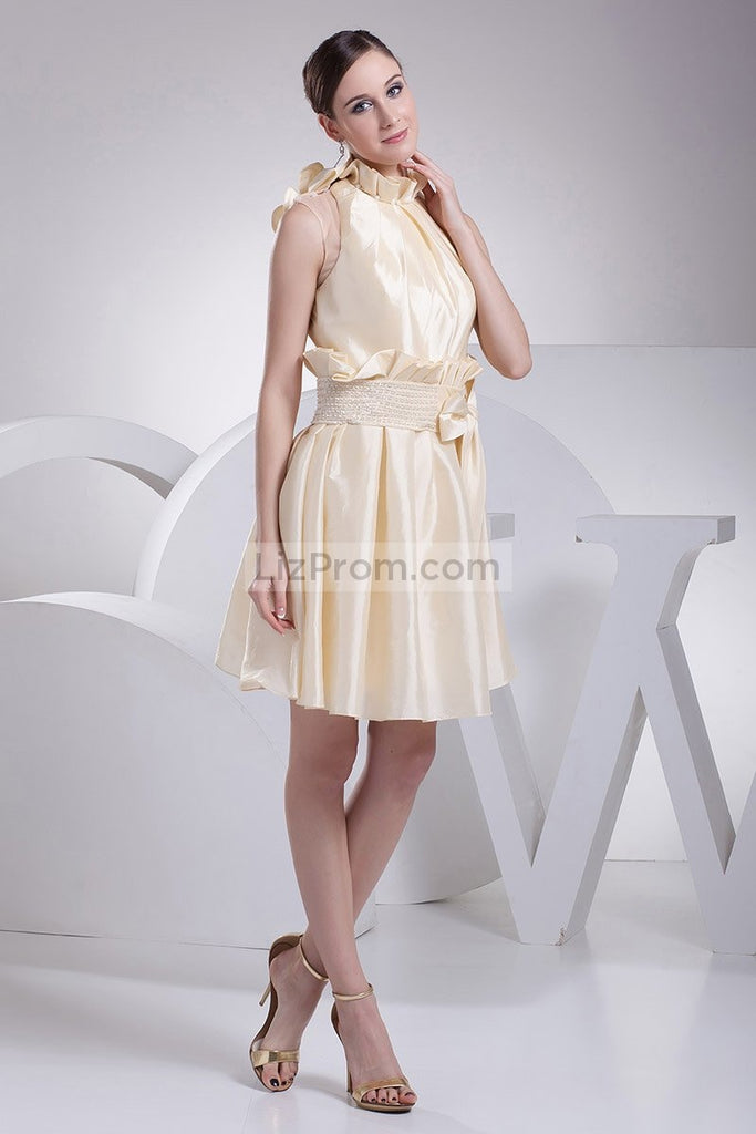 Champagne Fit And Flare Short Dress WIth Bow1