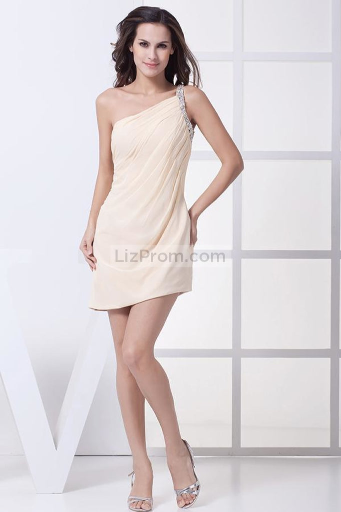 Champagne One Shoulder Bodycon Ruffled Short Prom Dress