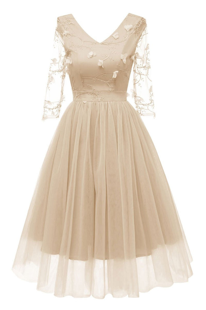 Champagne V-neck A-line Applique Prom Dress With Long Sleeves