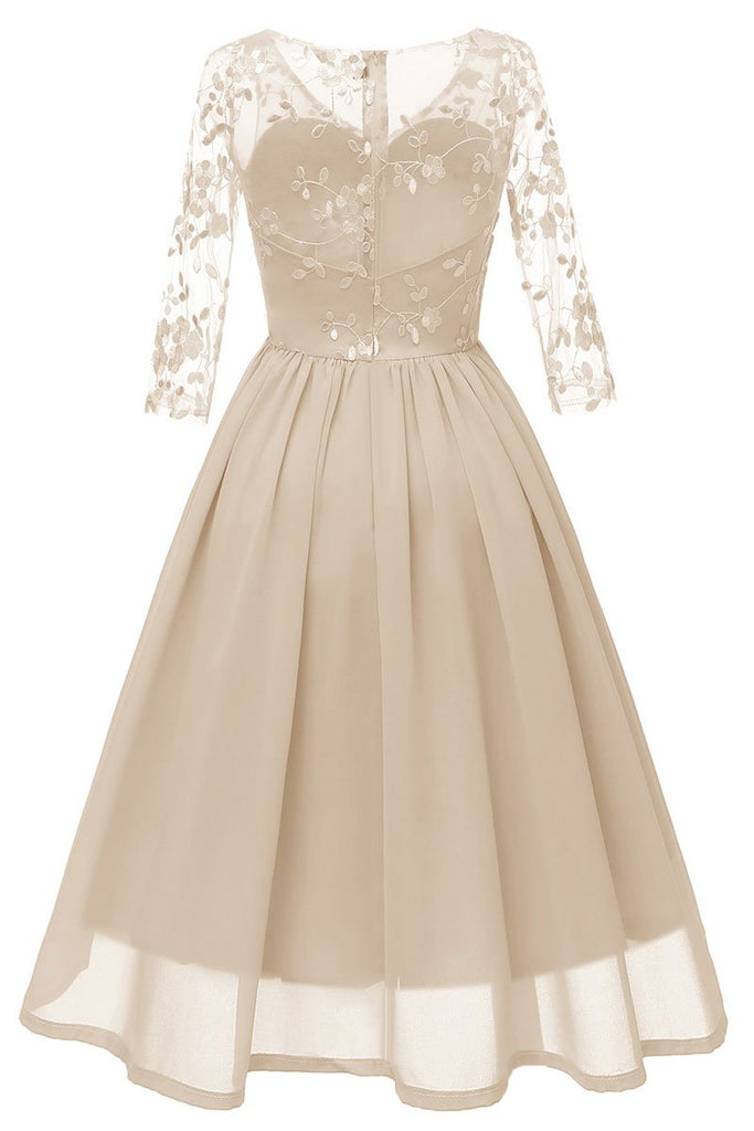 Champagne V-neck A-line Applique Prom Dress With Sleeves