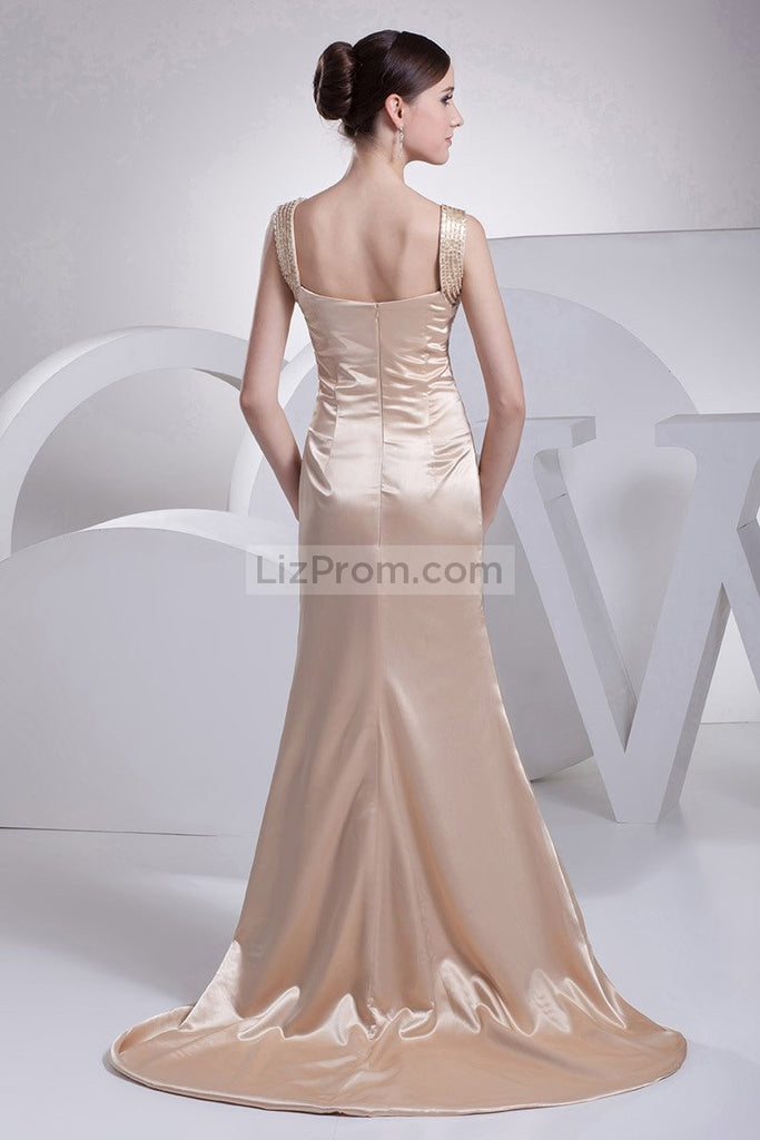 Champagne V-neck Mermaid Prom Long Dress1
