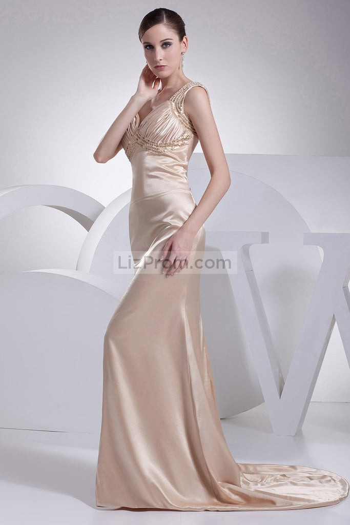 Champagne V-neck Mermaid Prom Long Dress2