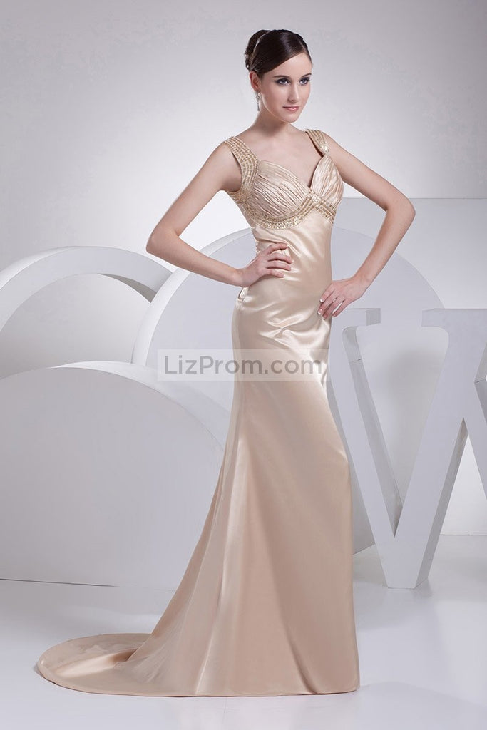 Champagne V-neck Mermaid Prom Long Dress3